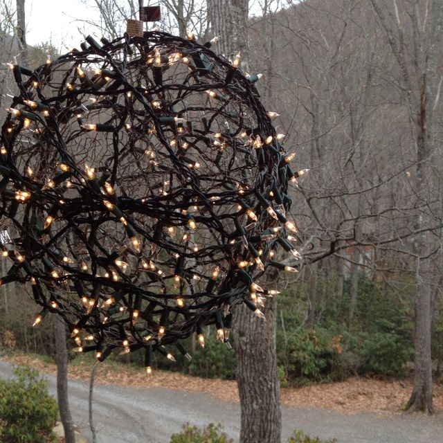 christmas lights made into a ball with chicken wire had so much fun with these last christmas in sanford - Chicken Wire Christmas Balls