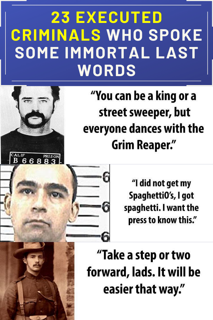 Best Funny Pins 23 Executed Criminals Who Spoke Some Immortal Last Words From notorious serial killers to possible wrongful convictions, these are the most memorable last words of executed criminals from around the world. 10
