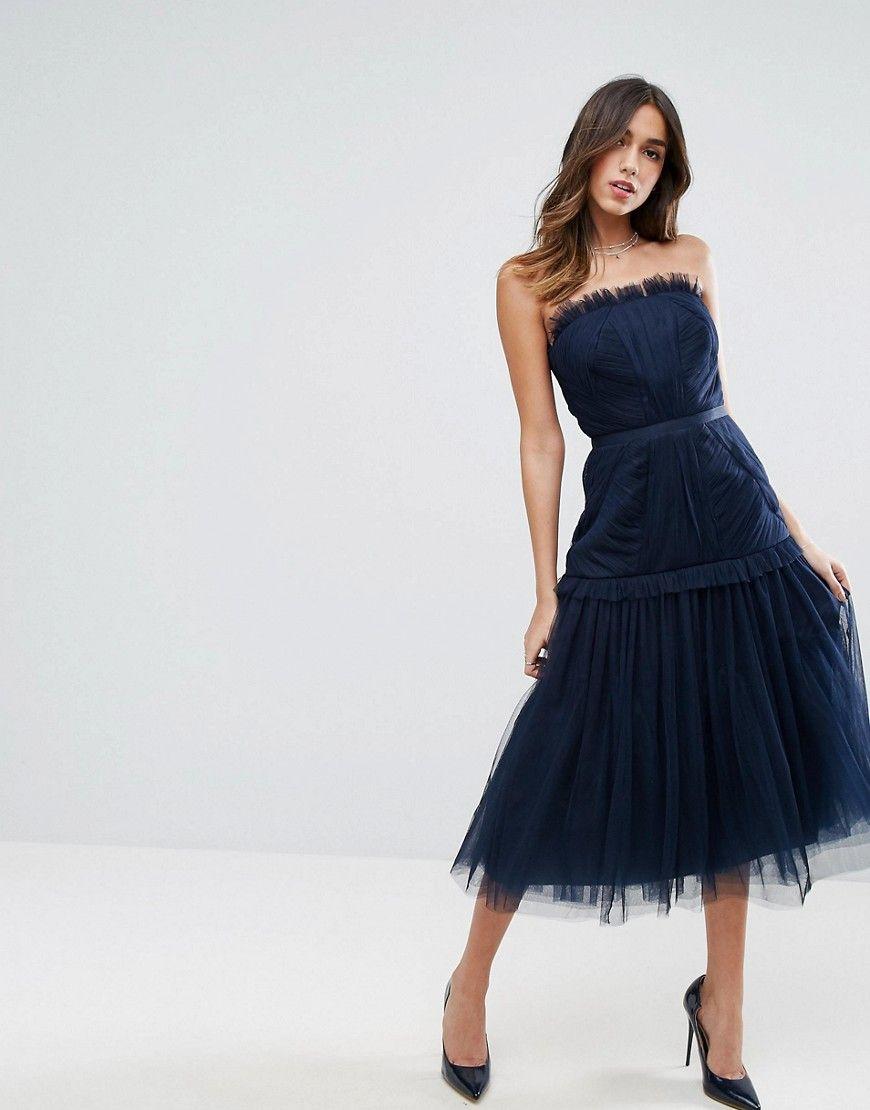 Asos Strapless Paneled Drop Waist Tulle Midi Dress Navy