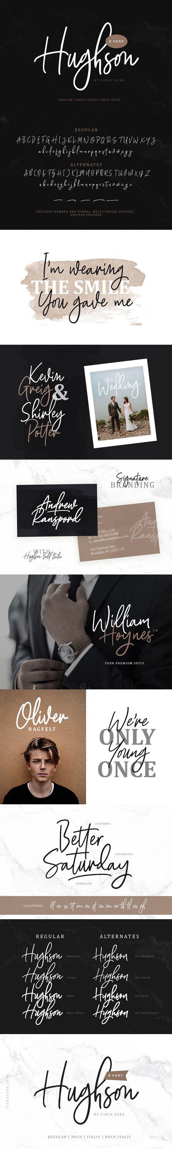 Hughson Script (8 Fonts) Hughson, Signature fonts