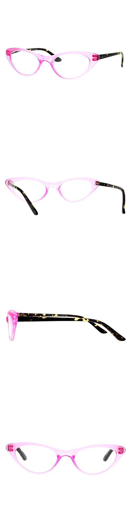 Womens Retro Design Narrow Cat Eye Plastic Reading Glasses Pink 1.5 ...