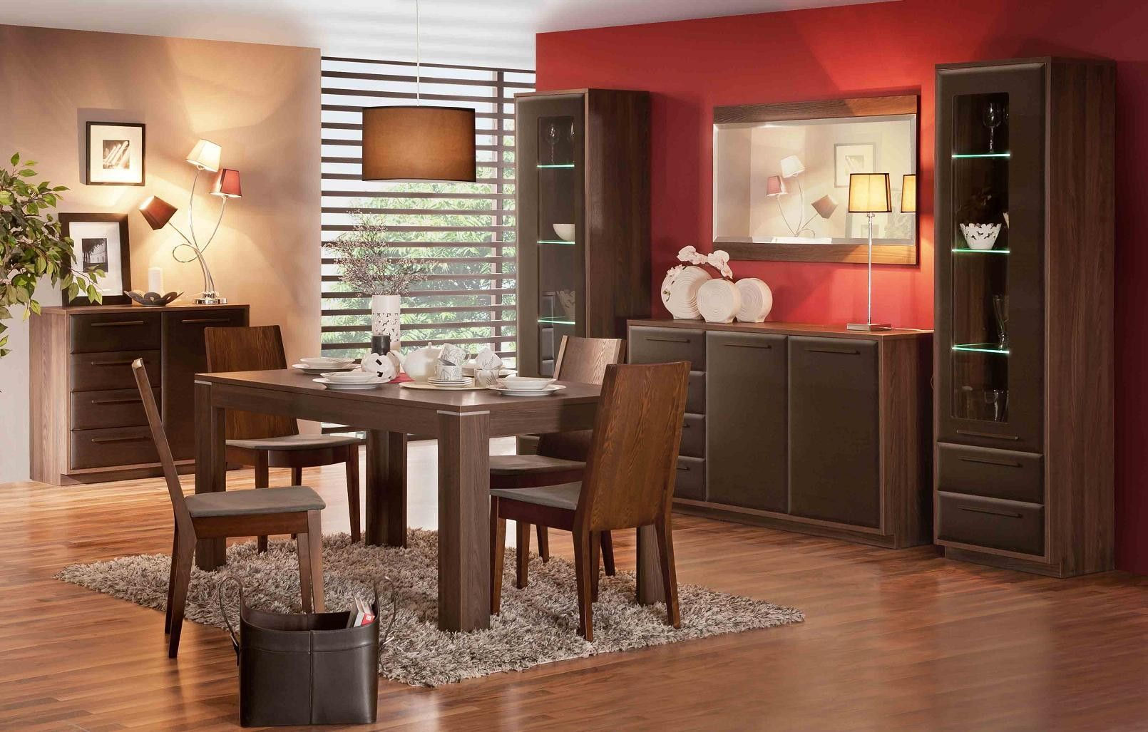 Red And Beige Colors For Dining Room Painting Ideas With Traditional Brown Wood Rectangle Shaped Table That Have Countertop Decorating Also Rustic