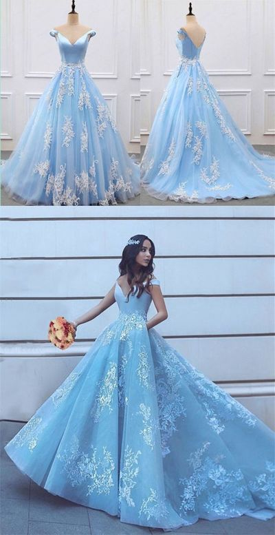 Elegant V-neck Off Shoulder Light Blue Prom Dresses Ball Gowns #bluepromdresses