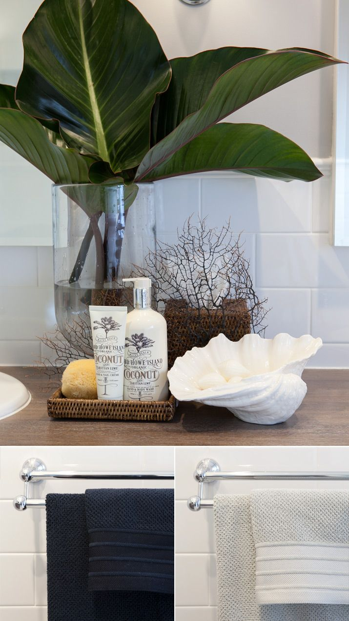 Tropical Beachy Bathroom Countertop Styling Staging Idea