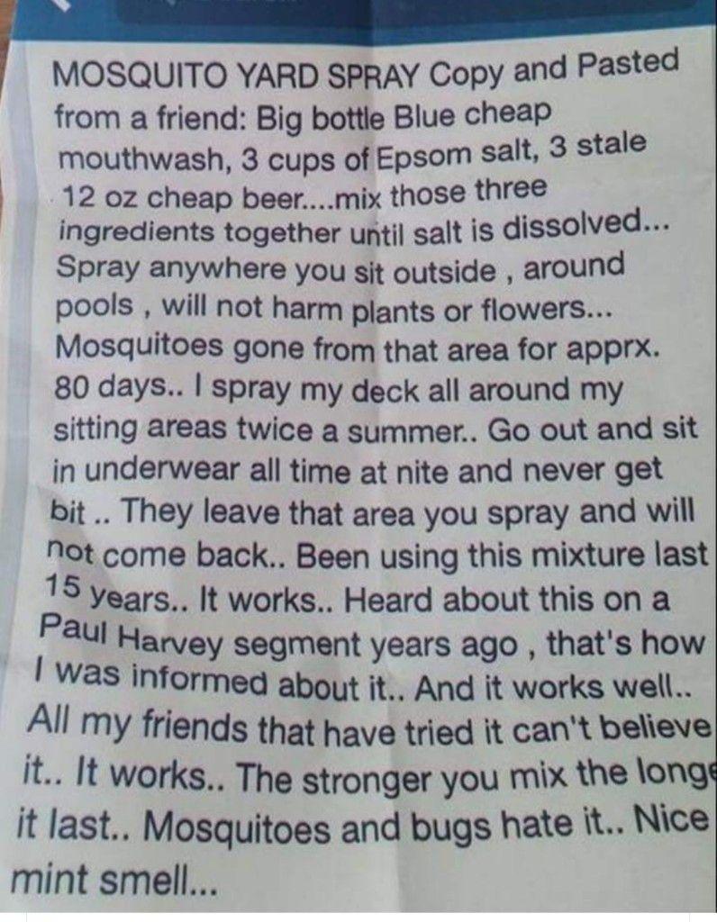 Pin by Martha Chesak on Great ideas Mosquito yard spray