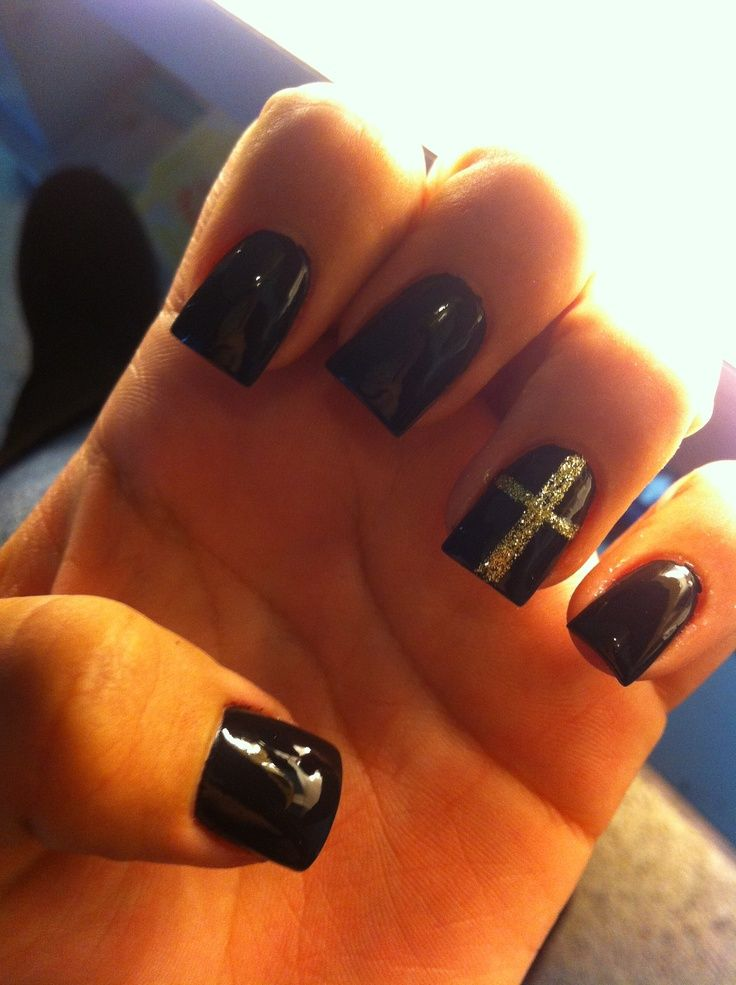 Black Acrylic Nails With Cross | www.pixshark.com - Images ...