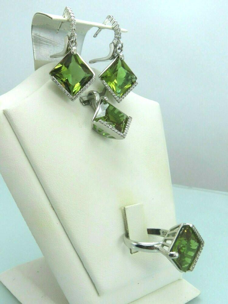 Sterling Silver Peridot Gemstones Alexandrite Earrings
