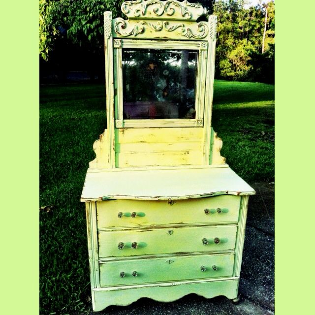 Themes For Baby Room Antique Mirrors: For My Nursery. Lime Green Distressed Antique Dresser And