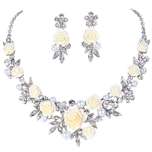 EVER FAITH Women's Austrian Crystal Simulated Pearl Rose Flower Leaf Necklace Earrings Set Dp9HnU