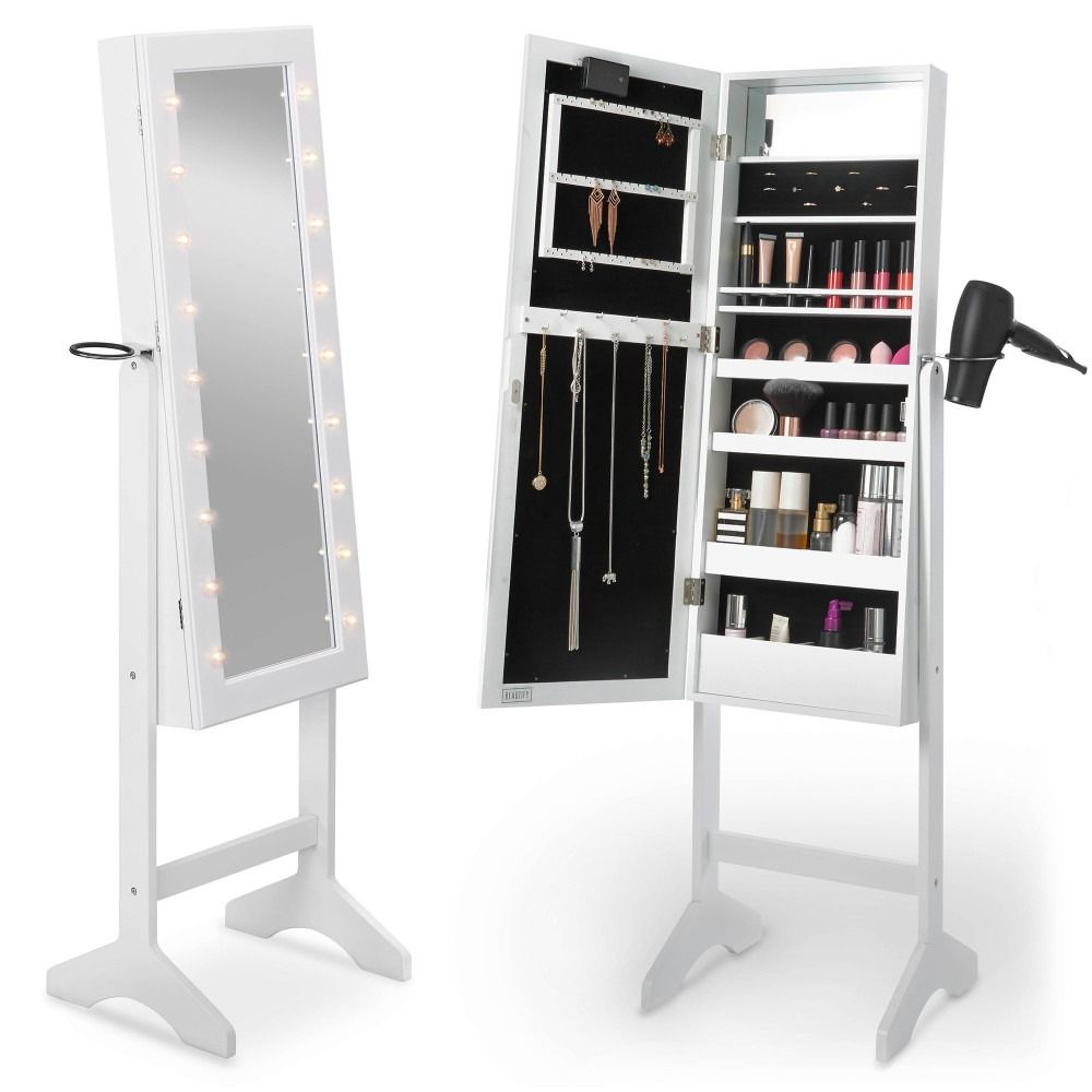 Beautify White LED Floor Standing Mirror Cabinet 1