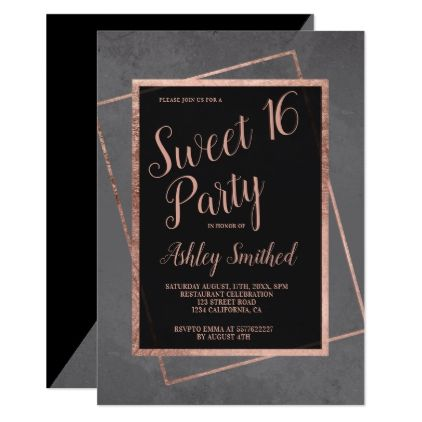 Modern typography rose gold frame grey Sweet 16 Card | Modern typography