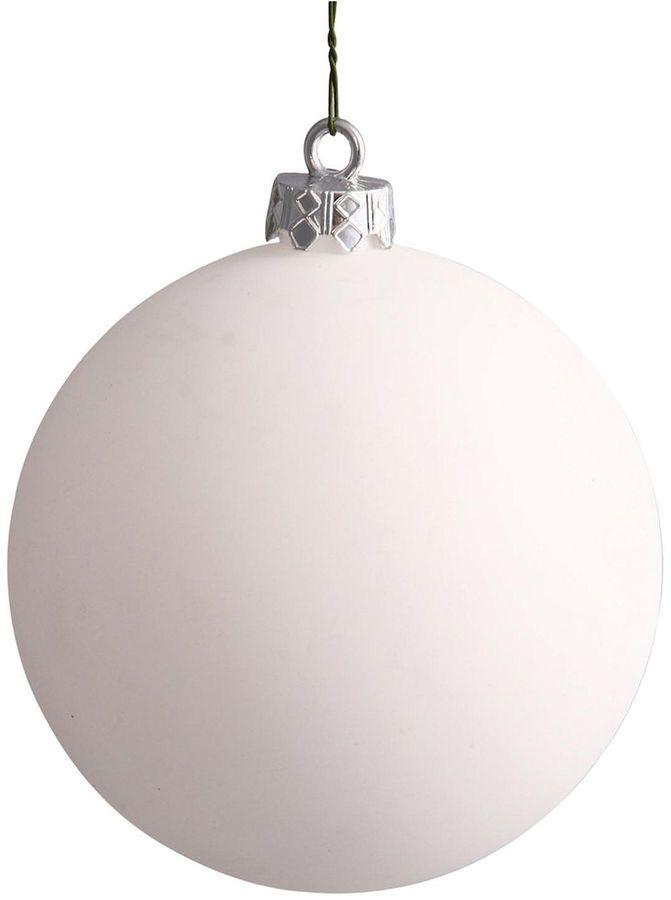 asstd national brand matte white uv resistant commercial drilled shatterproof christmas ball ornament 1575400mm - White Christmas Balls