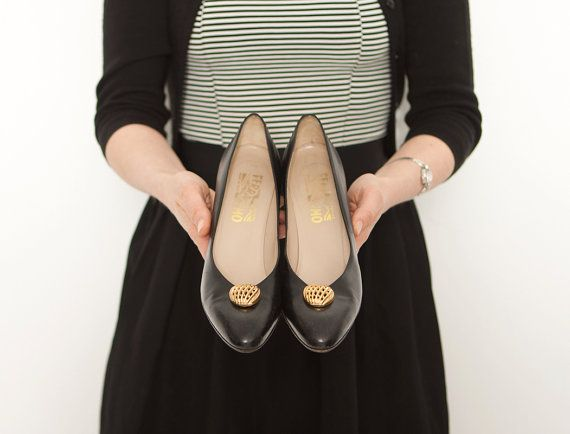 1980s designer Salvatore Ferragamo classic black leather pumps with gold buttons, 1960s inspired heels www.etsy.com/shop/inpasttimes