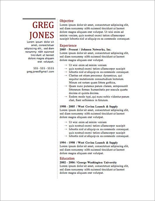 Resumes Templates Free 12 Resume Templates For Microsoft Word Free Download  Template