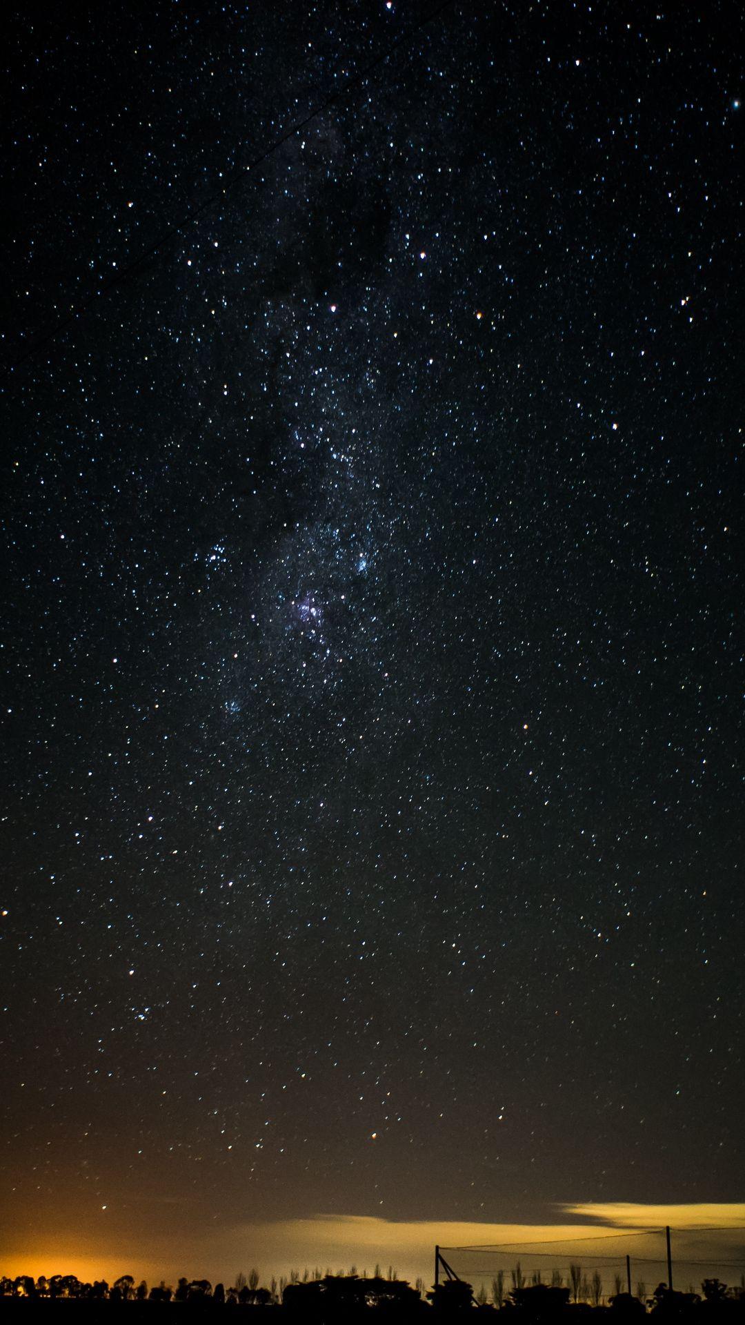 1080x1920 Wallpaper starry sky, night, horizon, shine