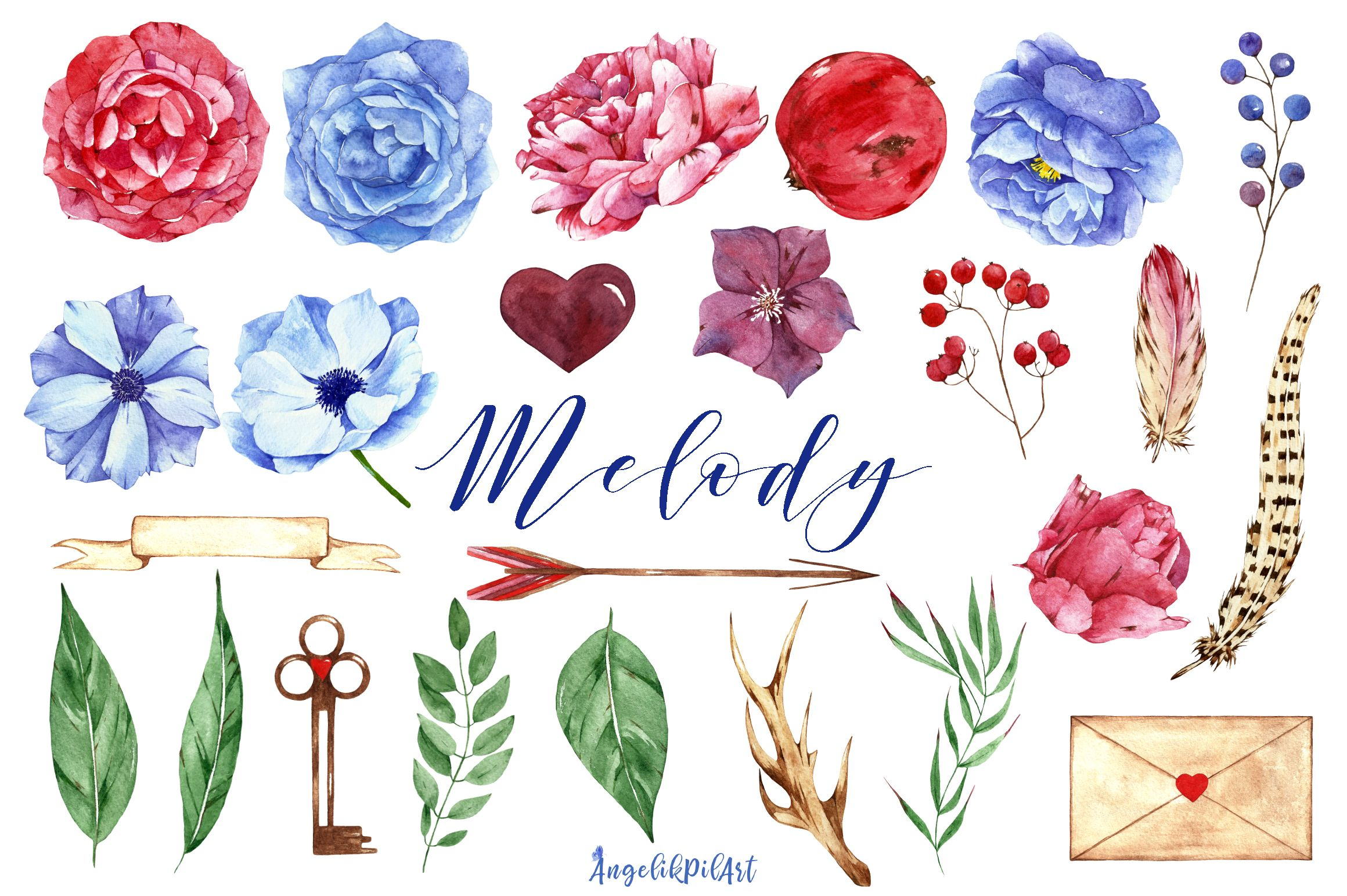 Watercolor Flower Clipart Melody Graphic By Angela Pylypenko