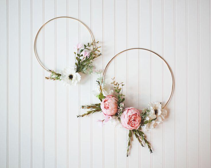 Photo of Pair of Gold Hoop Wreaths, Peony Spring Wreath, Wedding Decor, Nursery …