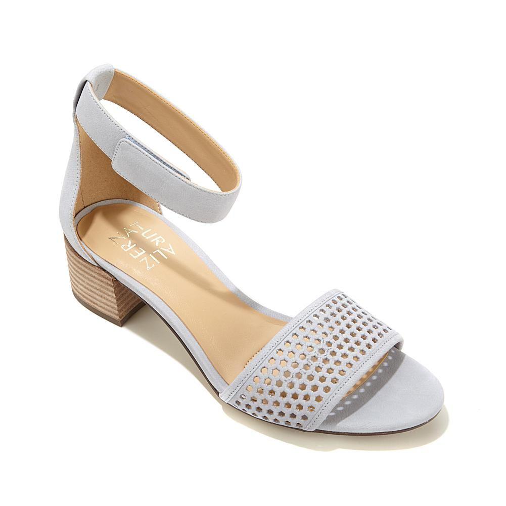 934286a0d4a9 Naturalizer Faith Leather Block-Heel Ankle-Strap Sandal - Blue Calm Hsn  Shoes