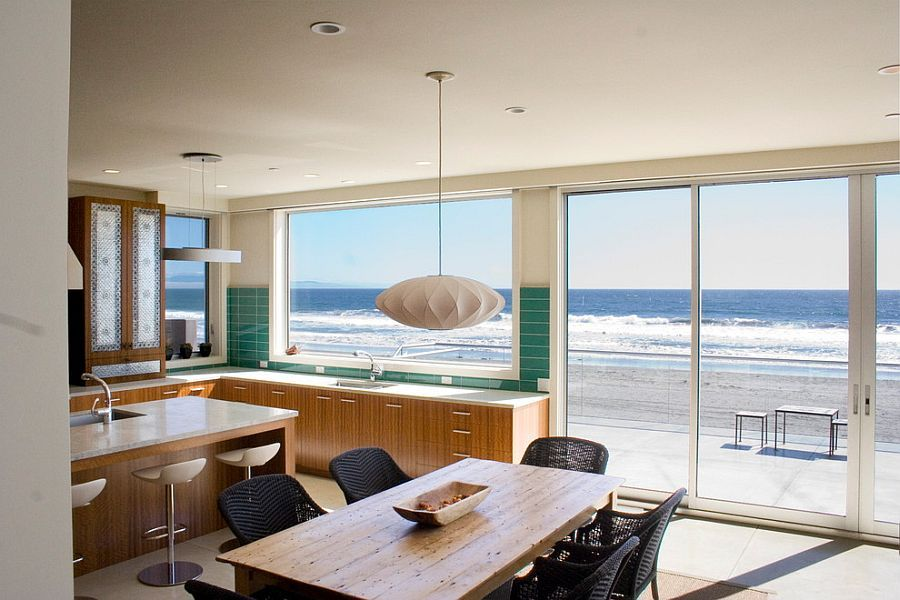 Ocean Outside Becomes A Visual Part Of The Beach Style Kitchen