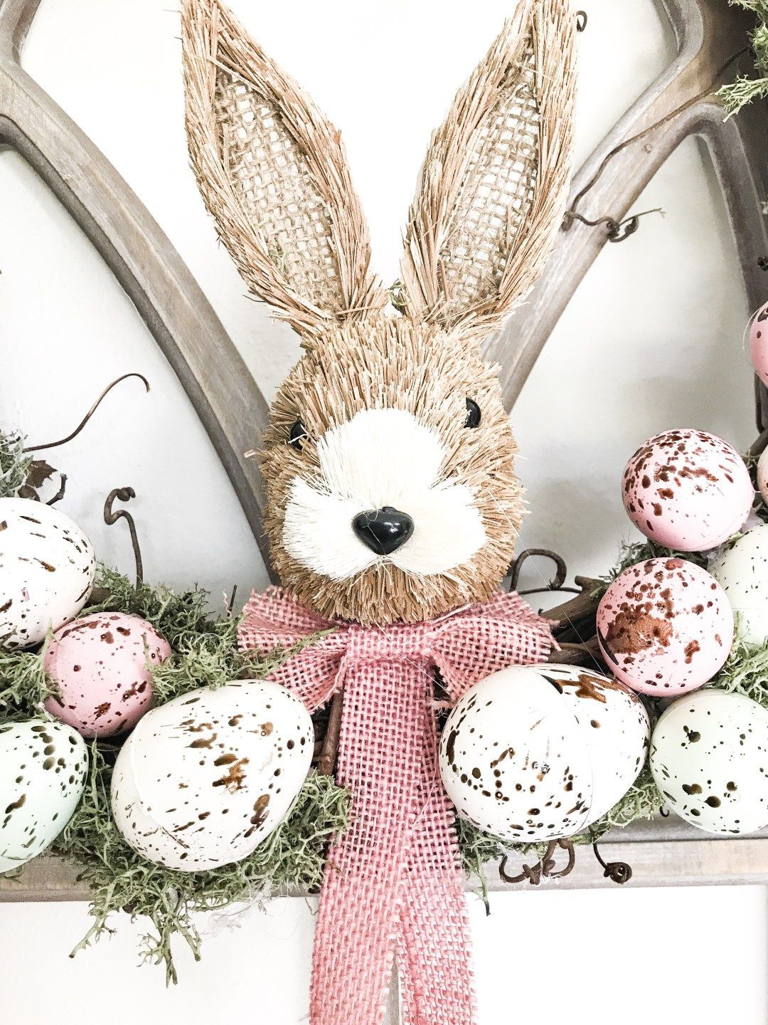 Diy farmhouse speckled easter egg wreath with images