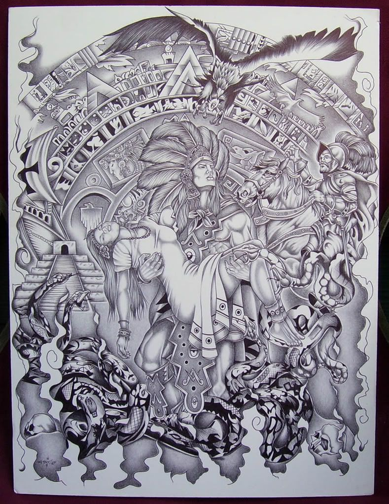Mexican aztec art aztec art drawings page 7 dibujos for Aztec mural tattoos