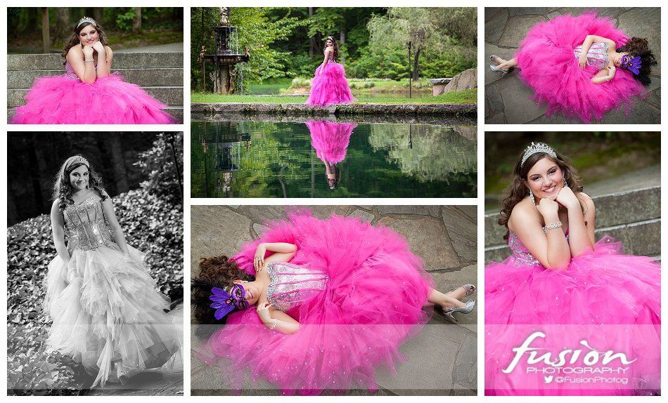 collage of girls at Castle McCulloch for her Quinceanera