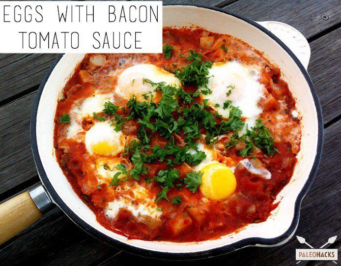 Eggs with Fried Bacon Tomato Sauce