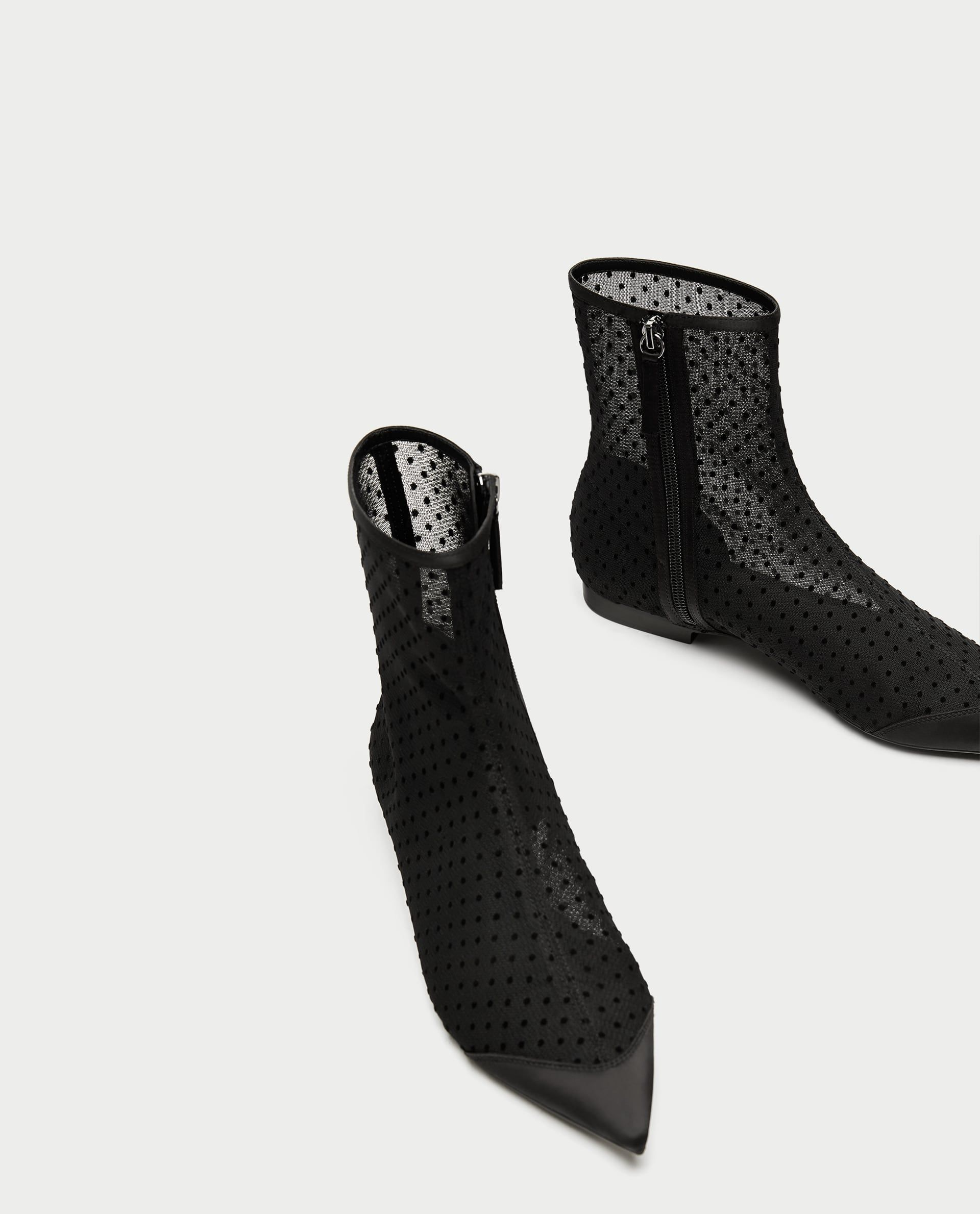 3b57869490a6 Image 1 of FLAT DOTTED MESH ANKLE BOOTS from Zara