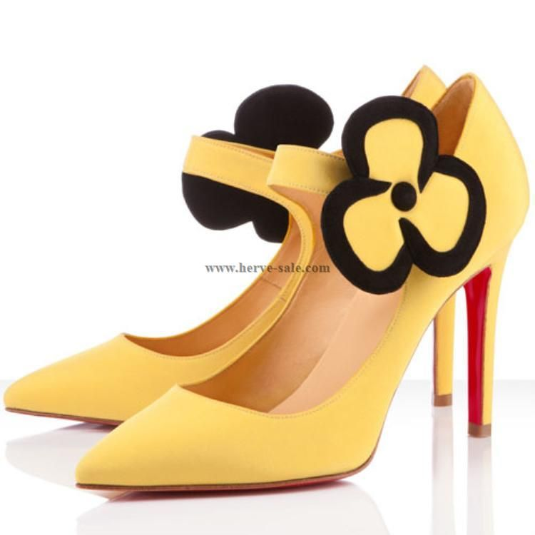 Christian Louboutin Pensee Satin Pumps Yellow 100mm