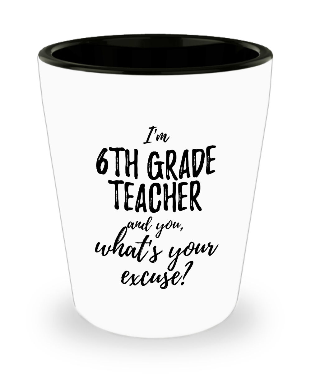 6th Grade Teacher Shot Glass What's Your Excuse Funny Gift