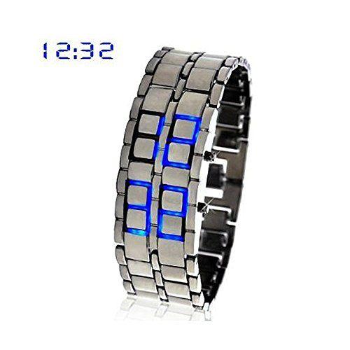SODIAL (R) blaue LED-Digitaluhr Lava-Eisen-Stil Metall Sportuhr - http://on-line-kaufen.de/sodial-r/sodial-r-blaue-led-digitaluhr-lava-eisen-stil