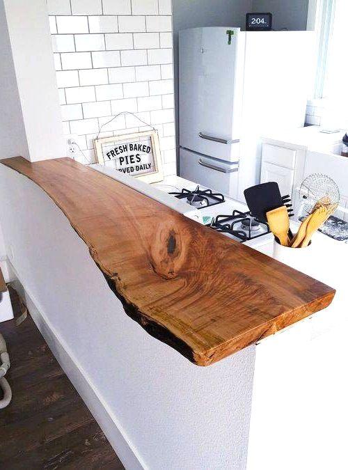 arredare la tua cucina con il top in legno massello, un piano snack ...