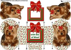 Yorkshire Terrier Christmas Bone Shaped Card on Craftsuprint - View Now!