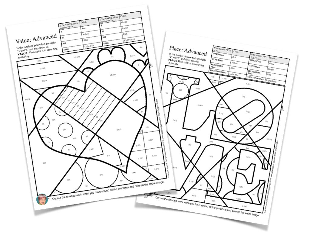 Place Value Coloring Page. | 도안 | Pinterest | February and School