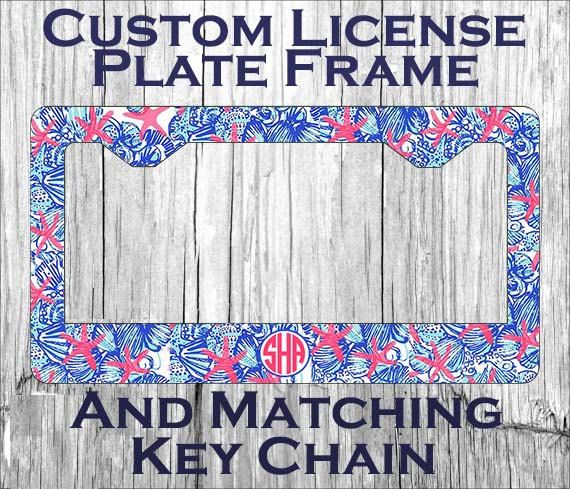 Custom Monogrammed personalized license plate frame. Lily Pulitzer ...