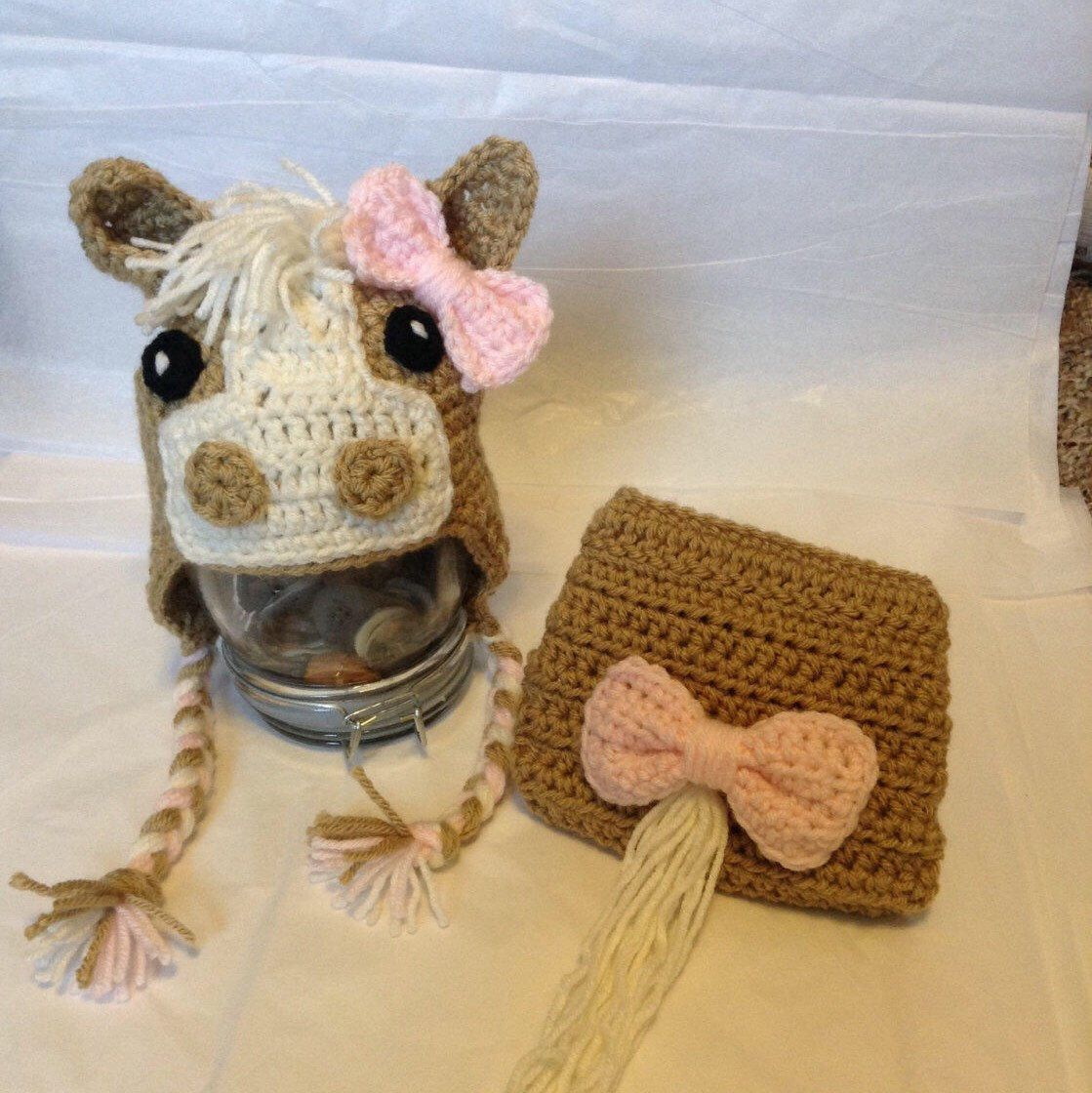 Crochet Newborn Baby Horse Photography Prop/Hat And Diaper Cover Set ...