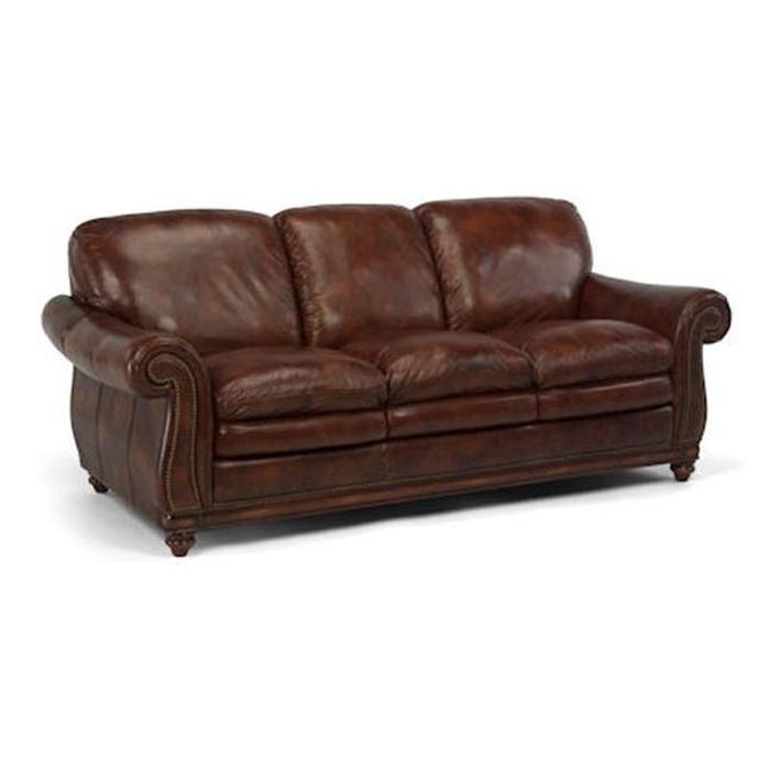 Laudes Belvedere Leather Sofa In Brown Nebraska Furniture Mart