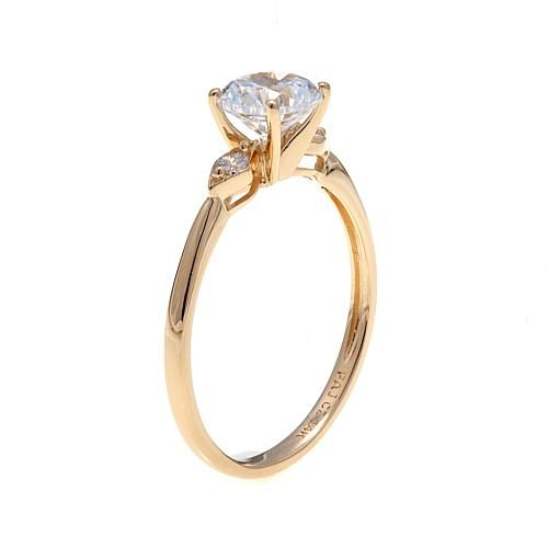 .96ctw Absolute™ 14K Yellow Gold 3-Stone Solitaire-Style Ring