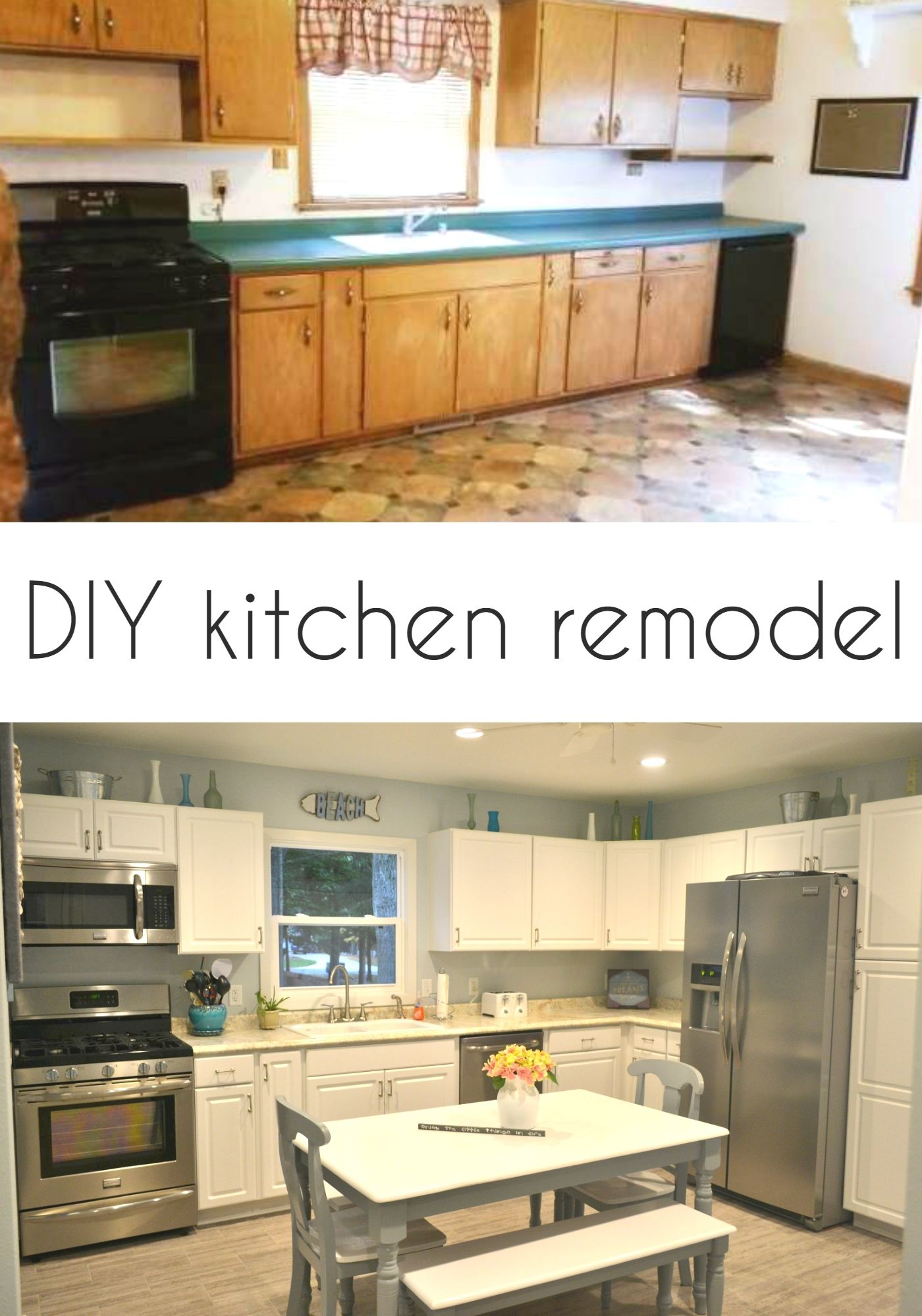 Amazing and simple kitchen remodel. White kitchen cabinets ...