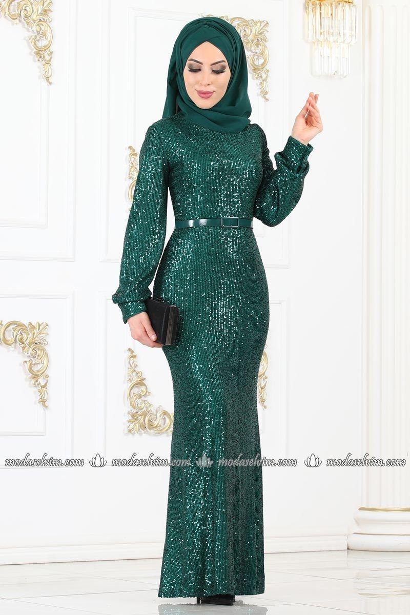 Pul Payetli Tesettur Abiye 81765bn395 Zumrut Moda Selvim 2020 Parti Elbisesi Elbiseler Resmi Elbise