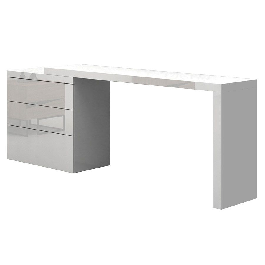 Nancy High Gloss White Lacquer Modern Adjustable Desk Adjustable