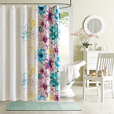 Featuring Bright Colors And An Asymmetrical Floral Design The Olivia Shower Curtain From Intelligent Will Dazzle Your Bathroom Space