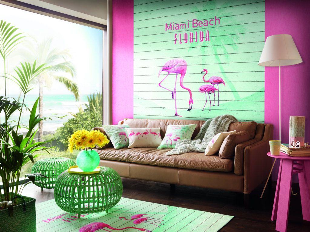Flamingo, Barabra Becker, Pink, Tapete pink, Miami Beach Barbara - wandtattoo wohnzimmer grun