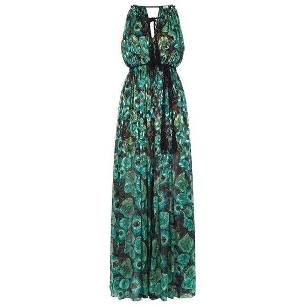 Lanvin Floral Print Gown (£3,025) ❤ liked on Polyvore featuring dresses, gowns, green dress, beaded gown, sheer dress, green necktie and boho dress
