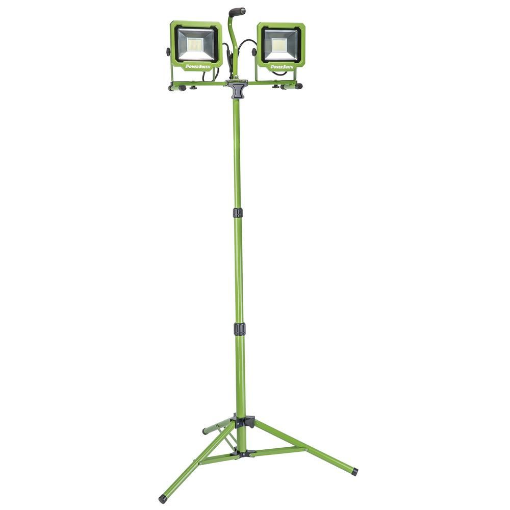 Powersmith 10 000 Lumens Dual Head Led Work Light With Tripod Pwl2100ts Led Work Light Work Lights Rechargeable Work Light
