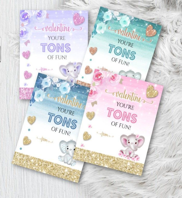 Valentines Day Cards for Kids Elephant Valentines for Girls School Treat for Class Pink and Purple Printable Tons of Fun V Day Cards Valentines Day Cards for Kids Elephan...
