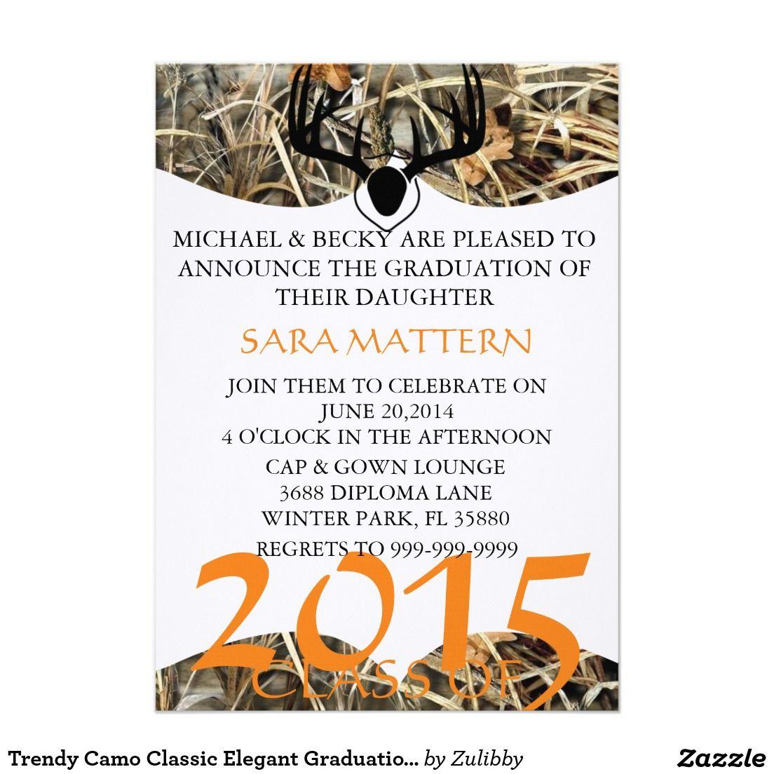 Trendy Camo Classic Elegant Graduation Invitation Camo Graduation