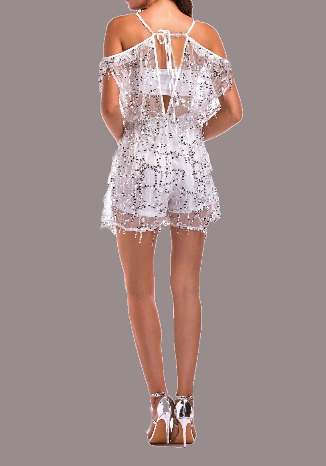 9cef1c7c0ed White Patchwork Sequin Tassel Tie Back Backless Off Shoulder Short Jumpsuit