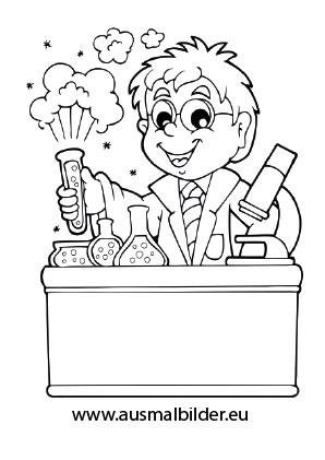 Ausmalbild Chemiker Coloring Pages Color Scientist