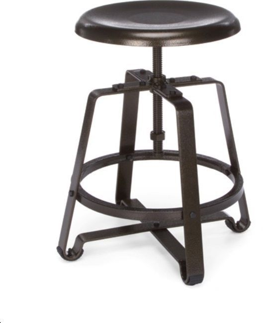 Industrial Metal Design Adjustable Height Swivel Bar Stool Chair Hardware Brown